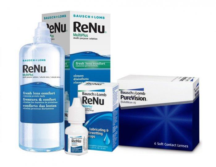 b744679174fb4a Pure Vision 6 szt. + Renu Multiplus 360 ml + krople Renu 8 ml ...